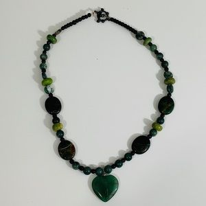 Agate and jade heart necklace